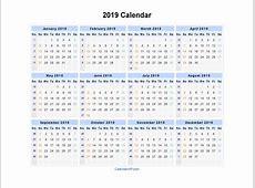 2019 Calendar Printable yearly printable calendar
