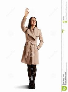Happy Young Woman Waving Hand Stock Image - Image of smile ...