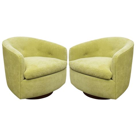 milo baughman pair of fabulous swivel barrel chairs at 1stdibs