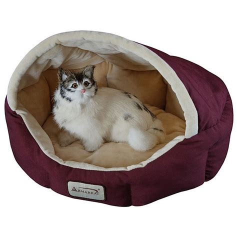 18 inch burgundy beige small cat bed by armarkat