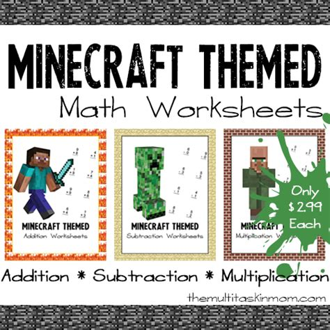 Minecraft Themed Math Worksheets  The Multi Taskin' Mom
