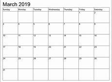 March 2019 Calendar calendar month printable