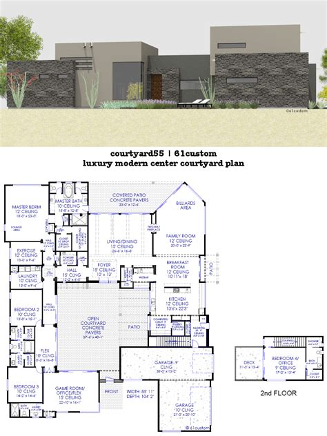 contemporary side courtyard house plan 61custom side courtyard house plans