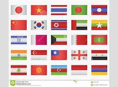 Ensemble De Drapeaux De Pays Asiatiques Illustration de