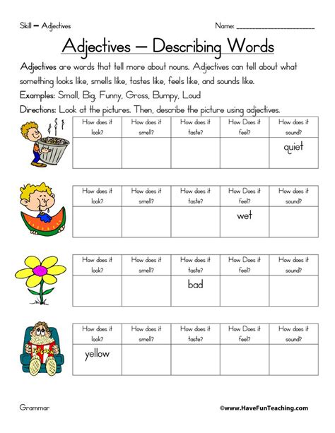 Adjective Worksheets  Page 2 Of 3  Have Fun Teaching
