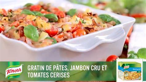 gratin de p 226 tes jambon cru et tomates cerises recette knorr