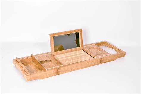 bamboo bathtub caddy with reading rack bamboo bath tub holder bathroom tray glass book reading