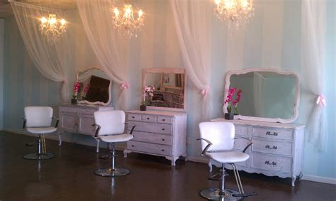 Using old dressers for stylist stations Salon Envy in
