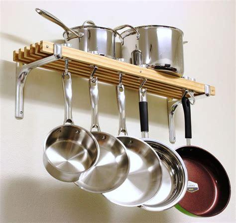 wooden shelf pots pans hanger wall mount rack cookware holder storage organizer house and