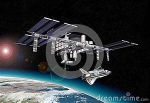 Space Station In Orbit Around Earth, With Shuttle. Royalty ...