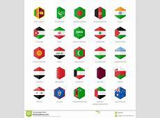 L'Asia Medio Oriente Ed Esagono Delle Icone Della Bandiera