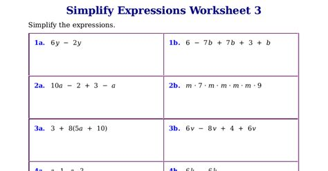 All Worksheets » Simplifying Expressions Worksheets  Printable Worksheets Guide For Children