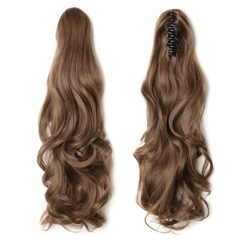"""18"""" 145g #12 Light Brown Curly Synthetic Claw Clip In Ponytail"""