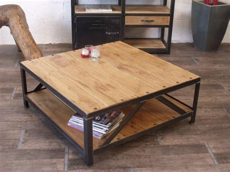 table basse carr 233 industrielle bois m 233 tal bois metal table basse et carr 233