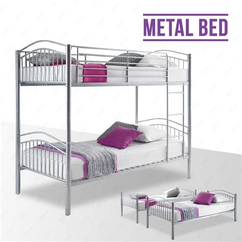 3 person bunk bed silver metal bunk bed frame 2 person 3ft single for