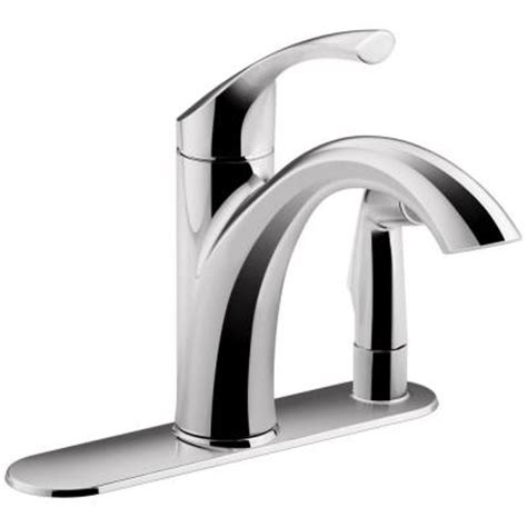 kohler mistos single handle standard kitchen faucet with side sprayer in polished chrome k