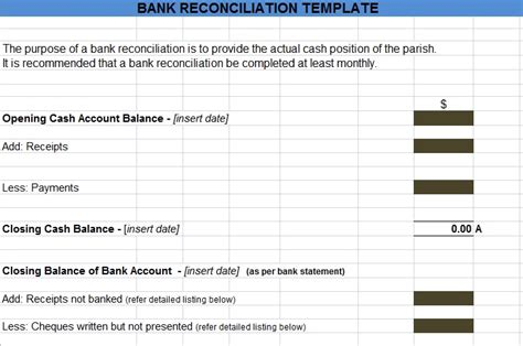 Trust Reconciliation Template by Bank Reconciliation Template Template Business