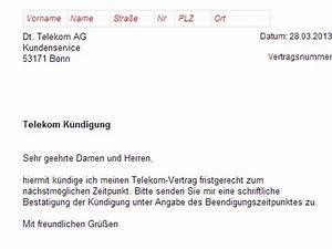 Kündigung Mietvertrag Vorlage : k ndigung telekom dsl vertrag vorlage download chip ~ Markanthonyermac.com Haus und Dekorationen