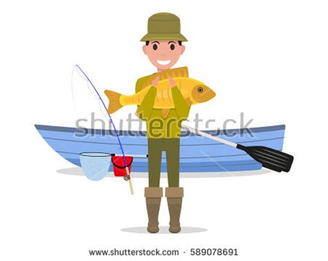 Cartoon Man In A Boat by Man Fishing On Boat Stock Images Royalty Free Images