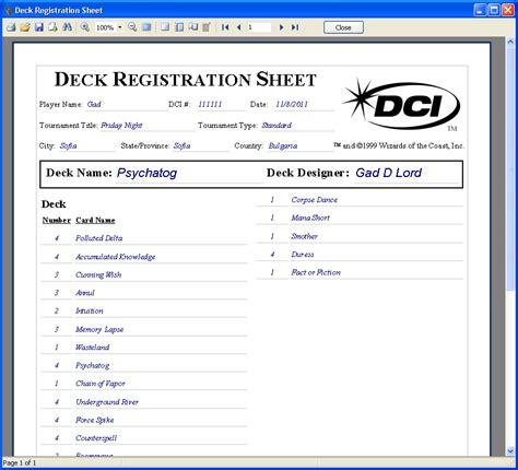 deck registration sheet mtg studio
