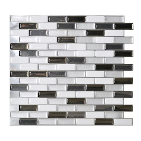 shop smart tiles 6 pack white linear mosaic composite vinyl wall tile common 10 in x 10 in