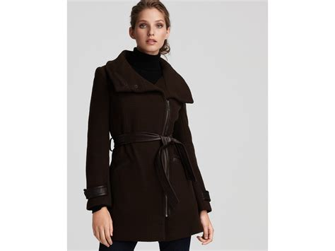 Cole Haan Asymmetric Belted Coat With Leather Trim In Black