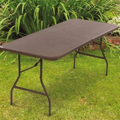 table pliante d appoint effet r 233 sine tress 233 e marron 180 cm pour