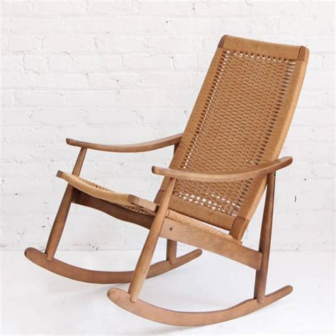 Woven Rope Midcentury Modern Rocking Chair And Ottoman At