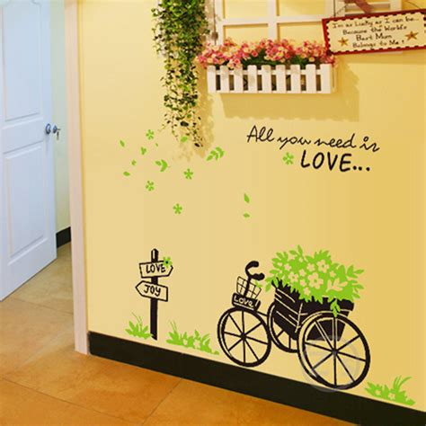 cheap wall decals bike stickers bicycle wall sticker home decor diy mural picture poster