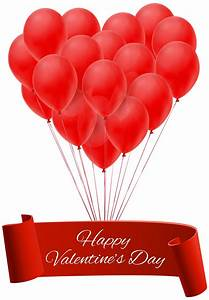 Happy Valentine's Day Banner with Balloons PNG Clip Art ...
