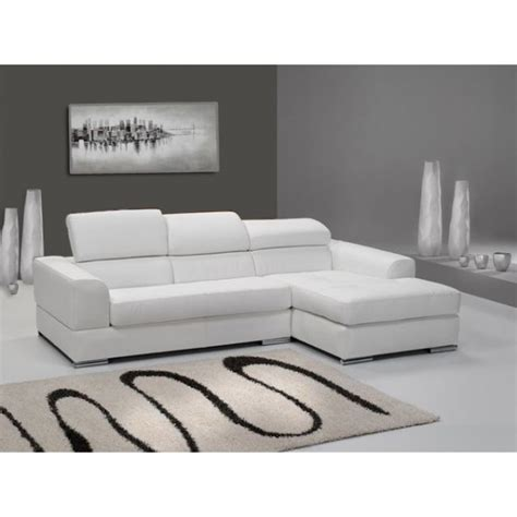 canap 233 d angle 4 places n 233 to madrid eco cuir blanc avec meridienne pas cher