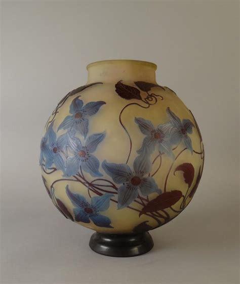 verrerie vase en pate de verre 3 couches signature japonai