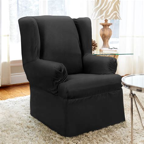Grey Wingback Chair Slipcovers by Bedroom Gray Fabric Wingback Chair Cover With Length