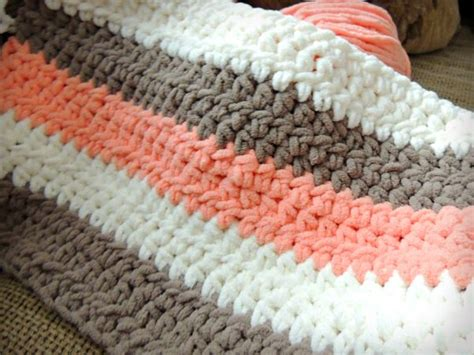 Coral Cream Tan Chunky Crochet Baby Blanket