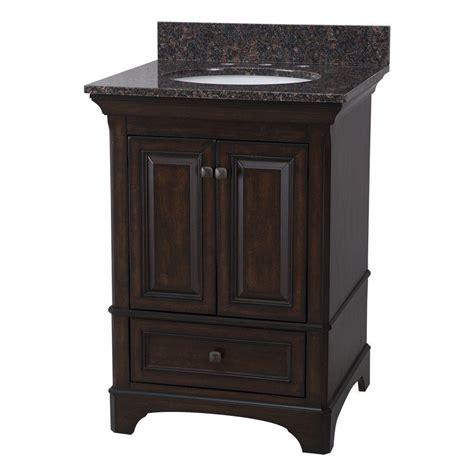 home decorators collection moorpark 25 in vanity in burnished walnut with granite vanity top in