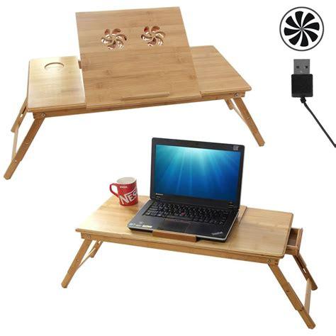 songmics table de lit pliable en bambou pour pc ordinateur portable notebook plateaux