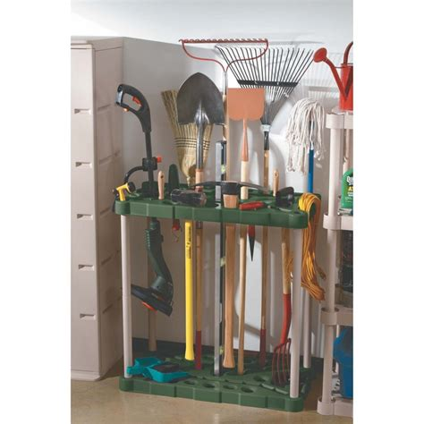 simple rubbermaid garage storage design with tool