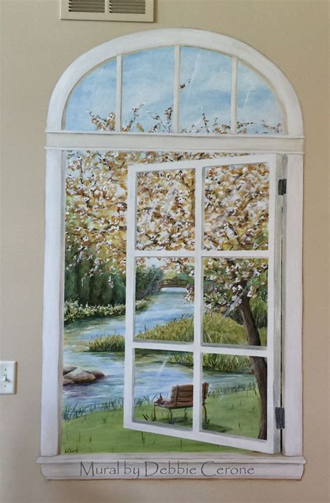 trompe l oeil window mural with river painted in residence in chicago suburb