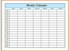 Weekly Calendar With Hours calendar template excel