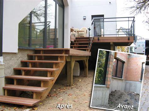 nivrem escalier de terrasse en bois diverses id 233 es de conception de patio en bois pour