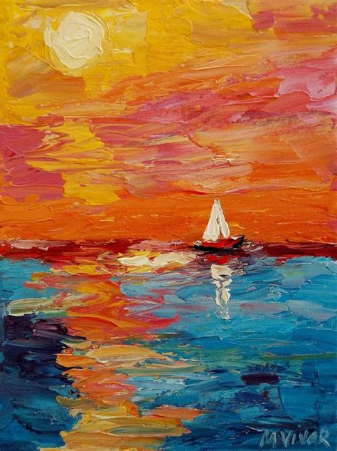 Boat Paintings By Famous Artists by Mona Vivar Abstract Seascape Sail Boat Ocean Impasto