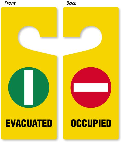 evacuated occupied door hanger two sided door hang tags sku tg 0932