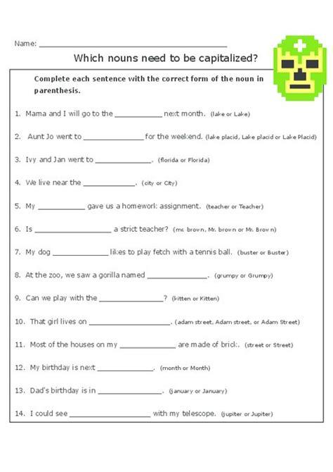 Capitalization Practice  Free Worksheets, Worksheets And Nouns Worksheet