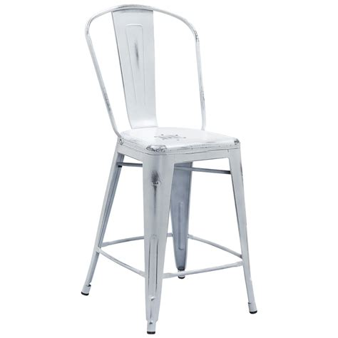 tolix style distressed indoor outdoor counter stool with back 24 quot high tabouret collection