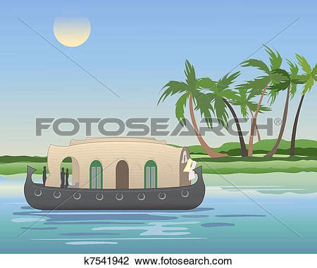 Kerala Boat House Vector by House Boat Clipart Clipground