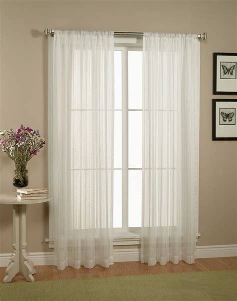 home linen collections pair set of white sheer curtains