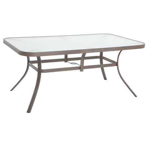 shop garden treasures hayden island glass top sand rectangle patio dining table at lowes