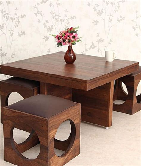 ethnic india solid wood coffee table with 4 stools buy ethnic india solid wood coffee