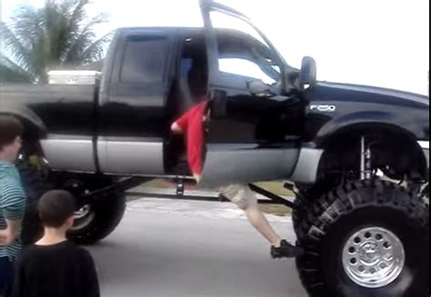 creative ways of getting into a lifted truck diesel army