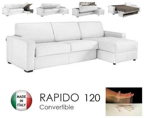 canape d angle convertible rapido 120cm dreamer cuir vachette blanc matelas 120 14 190 cm a